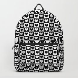 Black and White Hearts Check Pattern Backpack