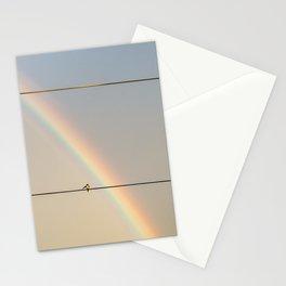 songbird preening under a rainbow (vertical Stationery Cards