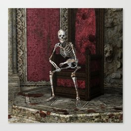 Gothic Waiting Skeleton Canvas Print