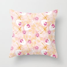 Flowers and dragonfly on blush Throw Pillow