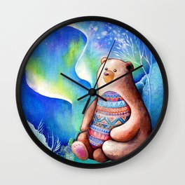 Spirit Bear Tribal Print Wall Clock