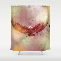 eagle Shower Curtains featuring Eagle by ron ashkenazi