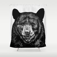 selena gomez Shower Curtains featuring Bear by Sebastian Gomez de la Torre