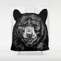 bear Shower Curtains featuring Bear by Sebastian Gomez de la Torre