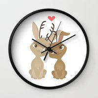 jackalope Wall Clocks featuring Jackalope Love by Sara Showalter