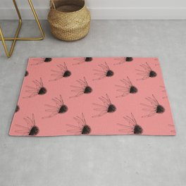 Hand Illustrated Floral Pattern Coneflower Flowers On Pink Background Rug