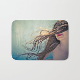 Woman's long Hair blowing in the wind  summer breeze Bath Mat