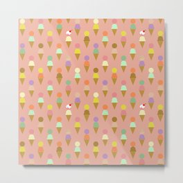Ice Cream Cone Pattern Pink Robayre Metal Print
