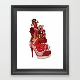 Ladies In Red Framed Art Print