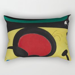 Joan Miro Vol Doiseaux, 1968, Flight of Birds Encircling the 3 Haired Woman on a Moon, Artwork, Prin Rectangular Pillow