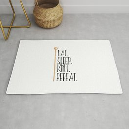 Eat Sleep Knit Repeat Rug
