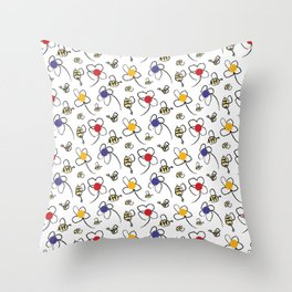 Bees and Flowers Children's Pattern Throw Pillow