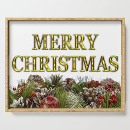 Merry Christmas With Decorative Wreath Serving Tray