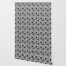 Pattern with a croissant, apples, strawberries and flowers. Black and white. Wallpaper