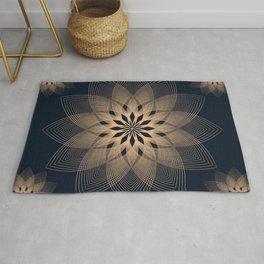 Mandala Spirits Journey / Spiritual Bohemian Gold Black Meditation Yoga Mandala Rug