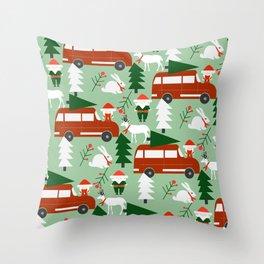 Christmas drive Throw Pillow