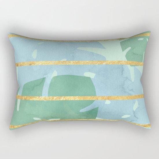 Leaves Pattern Golden Stripes Rectangular Pillow