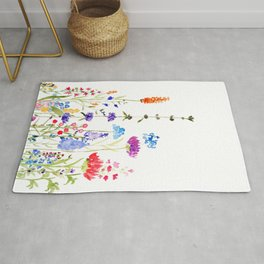 colorful wild flowers watercolor painting Rug