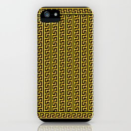 Greek Key Full - Gold and Black iPhone Case