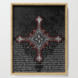 Noble House II CRUSADER RED / Grungy heraldry design Serving Tray