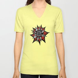 Spiked Abstract Flower In Red And Black Unisex V-Neck