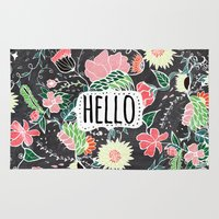 preppy Area & Throw Rugs featuring Pastel preppy flowers Hello typography chalkboard by Girly Trend