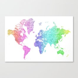 """Rainbow world map in watercolor style """"Jude"""" Canvas Print"""