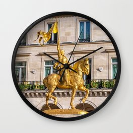 Statue of Joan of Arc on Place des Pyramides in Paris Wall Clock