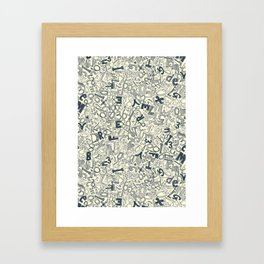 A1B2C3 indigo ivory Framed Art Print