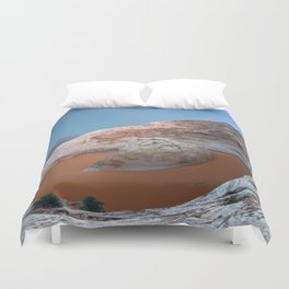 Rock mountain lake Duvet Cover