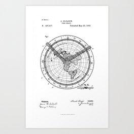Time chart clock old patent vintage illustration Art Print