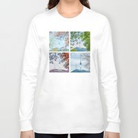 seoul Long Sleeve T-shirts featuring Seoul Tower Seasons - Square by Zayda Barros