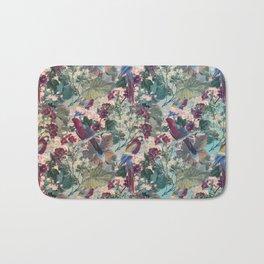 Tiled Parrots and Flora Pattern Bath Mat