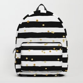 Hand drawn pattern, black and white stripes and gold dots Backpack