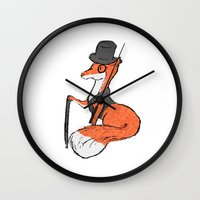 mr fox Wall Clocks featuring Mr Fox by Cat Milchard