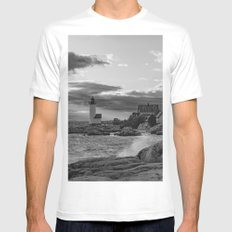 Annisquam Lighthouse Black and white White Mens Fitted Tee MEDIUM