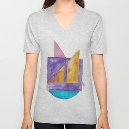 180818 Geometrical Watercolour 2| Colorful Abstract | Modern Watercolor Art Unisex V-Neck