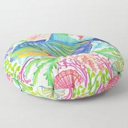 Parrot Fish & Ocean Creatures Floor Pillow