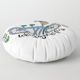 We're In This Together Tandem Bicycle  Floor Pillow