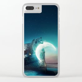 Who stole the moon? #bear Clear iPhone Case