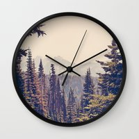 woods Wall Clocks featuring Mountains through the Trees by Kurt Rahn