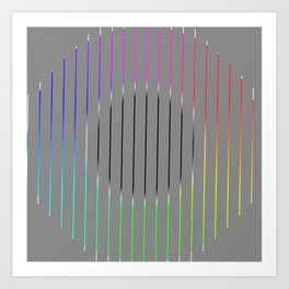Minimalistic circle with colored lines Art Print