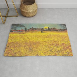 Wheat field at sunset Rug
