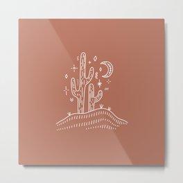 Wanderlust Cactus Minimal Simple Design Metal Print