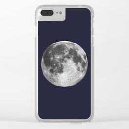 Full Moon on Navy Minimal Design Clear iPhone Case