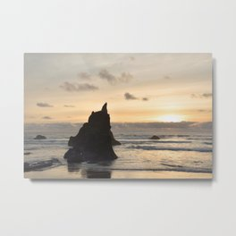 Arcadia Beach Sunset Lion Rock Oregon Coast Pacific Ocean Metal Print