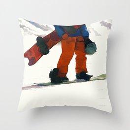 Ready to Ride! - Snowboarder Throw Pillow