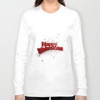valentines Long Sleeve T-shirts featuring Happy Valentines by Tom Lee