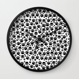 Dog Paws, Traces, Paw-prints - White Black Wall Clock