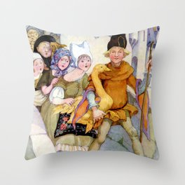 """The Golden Goose"" by Anne Anderson Throw Pillow"